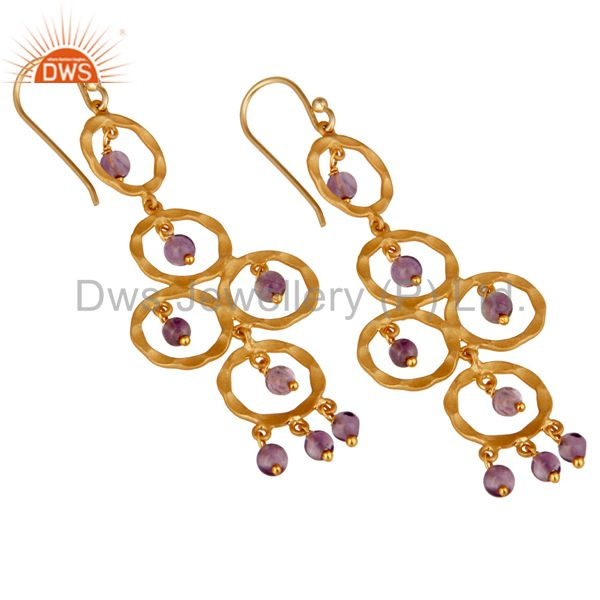 Exporter Amethyst Beaded 18K Gold Plated Sterling Silver Dangler Earring