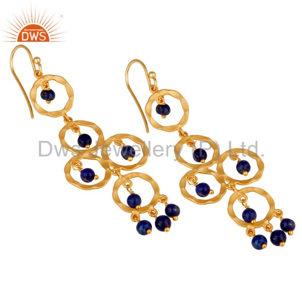 Exporter Lapiz Lazuli Beaded 18K Gold Plated Sterling Silver Dangler Earring