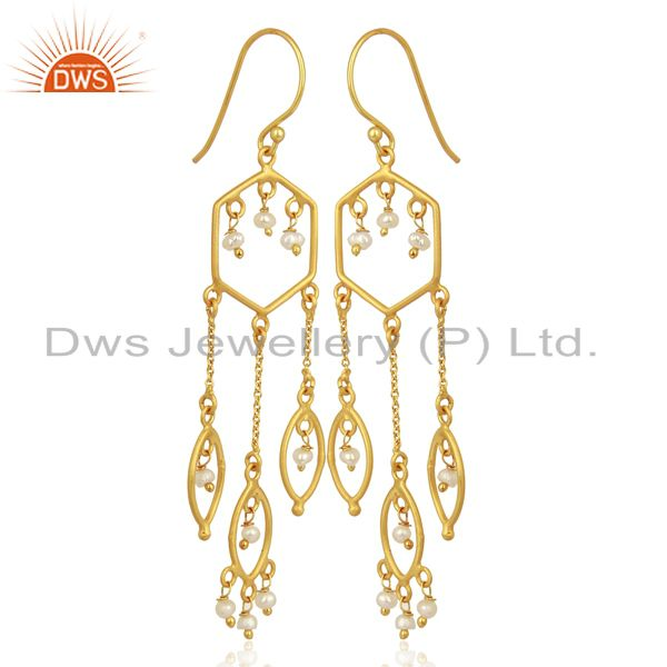 Exporter Pearl Beads Dangle 14K Yellow Gold Plated 925 Sterling Silver Earrings Jewelry