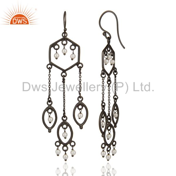 Exporter Designer 925 Sterling Silver Pearl Beaded Bridal Wedding Chandelier Earrings