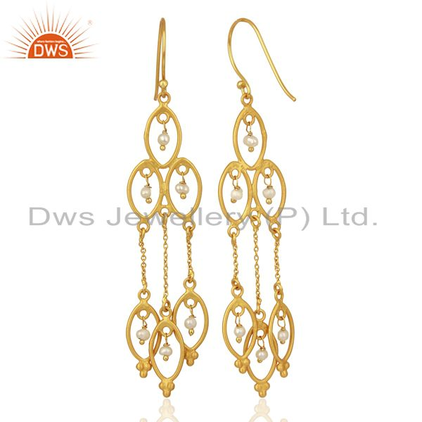 Exporter Pearl Beads 18K Yellow Gold Plated 925 Sterling Silver Earrings Jewelry