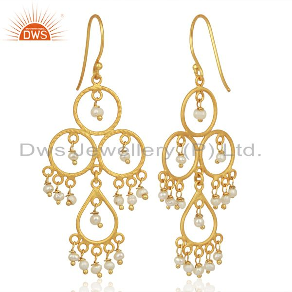Exporter Pearl Beads Drop Dangle 18K Gold Plated 925 Sterling Silver Earrings Jewelry