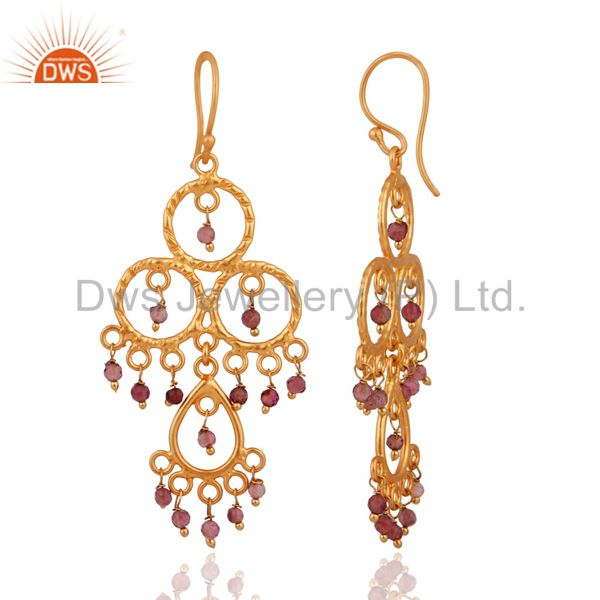 Exporter Tourmaline Gemstone Chandelier Earrings Designer Handcrafted .925 Silver Jewelry