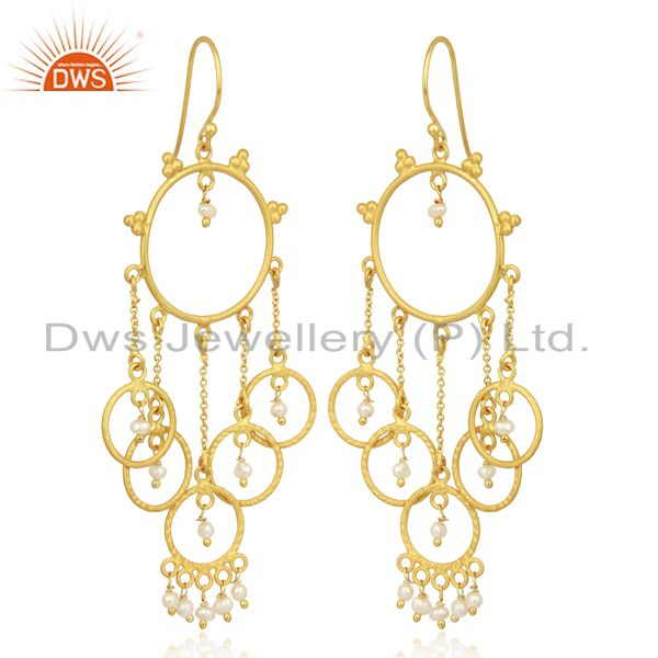 Supplier of Pearl Beads Chandelier 18K Yellow Gold Plated 925 Sterling Silver Earrings