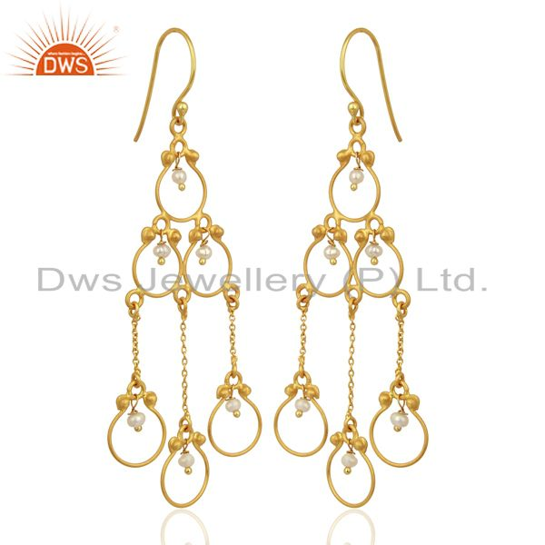 Exporter Pearl Beads 18K Yellow Gold Plated 925 Sterling Silver Earriings Jewelry