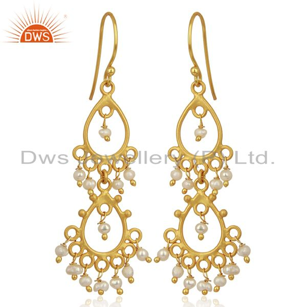 Exporter Pearl Beads 18K Yellow Gold Plated Sterling Silver Earrings Jewelry