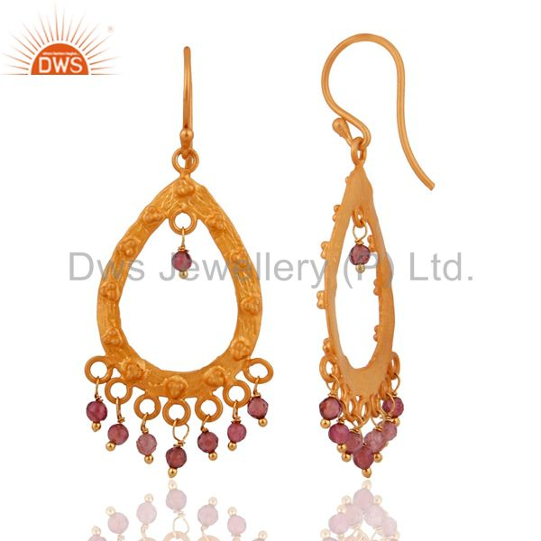 Exporter Unique Handmade Sterling Silver Gemstone Tourmaline Earrings With Gold Plated