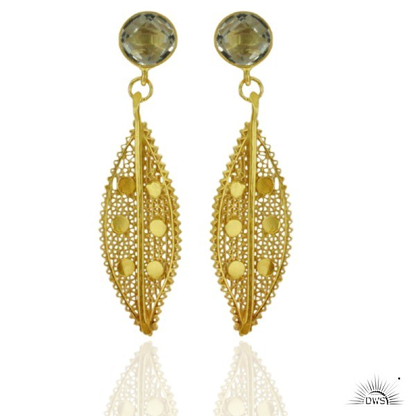 Exporter Lace Unique Design 925 Sterling Silver Crystal 18k Gold Dangle Earrings