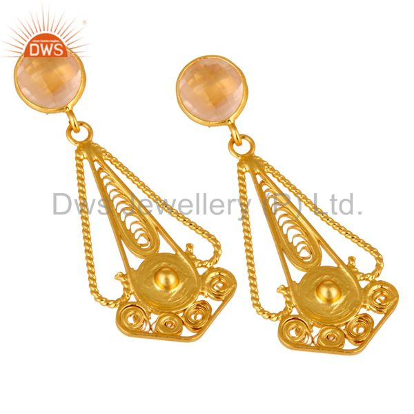 Exporter 22K Gold Plated 925 Sterling Silver Rose Quartz Gemstone Designer Earring