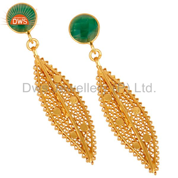Exporter 18K Yellow Gold Plated Sterling Silver Green Onyx Filigree Design Dangle Earring