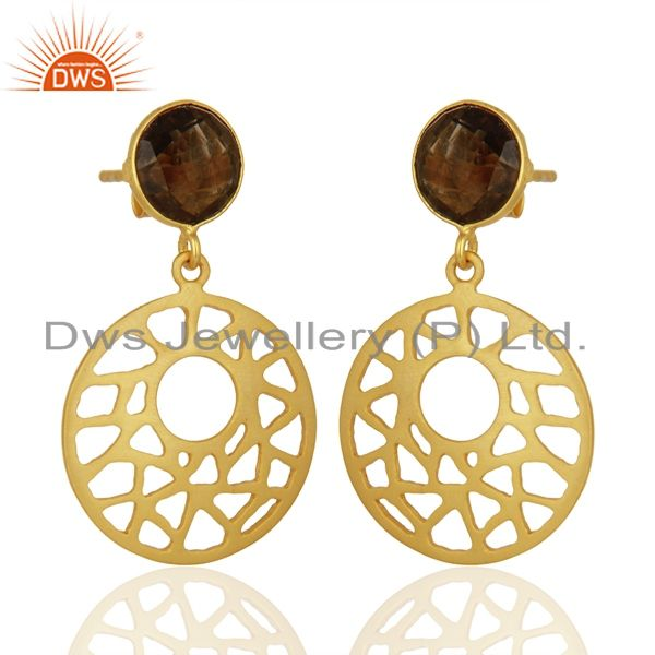 Exporter 18K Gold Plated Sterling Silver Smoky Quartz Filigree Dangle Earrings