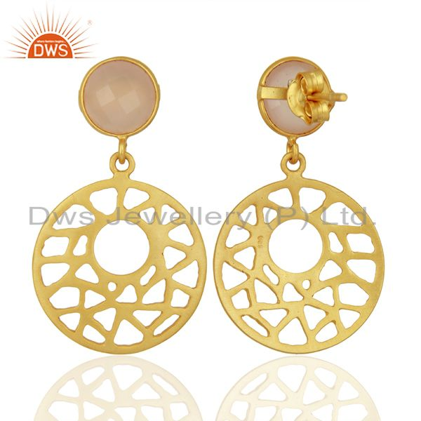 Exporter 14k Yellow Gold Over 925 Sterling Silver Rose Chalcedony Filigree Dangle Earring