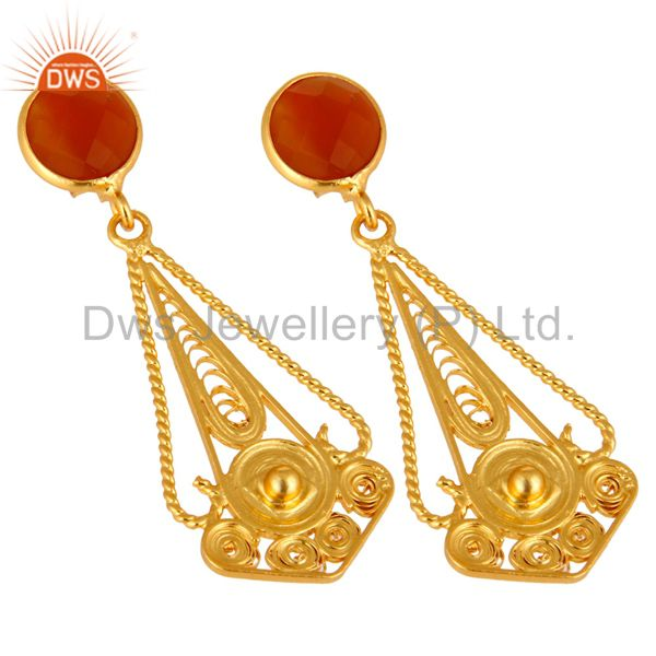 Exporter Handcarfted 18k Gold Plated 925 Sterling Silver Red Onyx Earring Jewelry