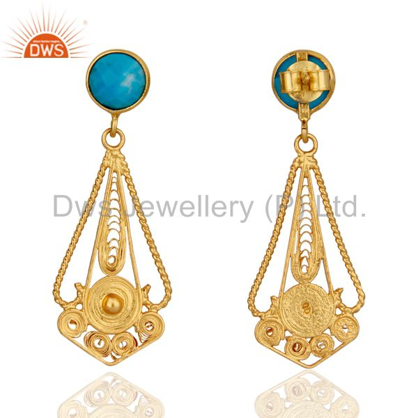 Exporter Classic Lace Designer 24K Gold Plated 925 Sterling Silver Turquoise Earrings