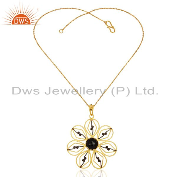 Exporter Natural Black Onyx Gemstone Flower Design Silver Pendant Supplier