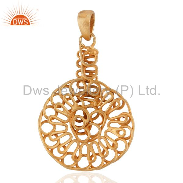 Exporter Wire Wrapped Artisan Jewelry 18k Yellow Gold Sterling Silver Spiral Pendant