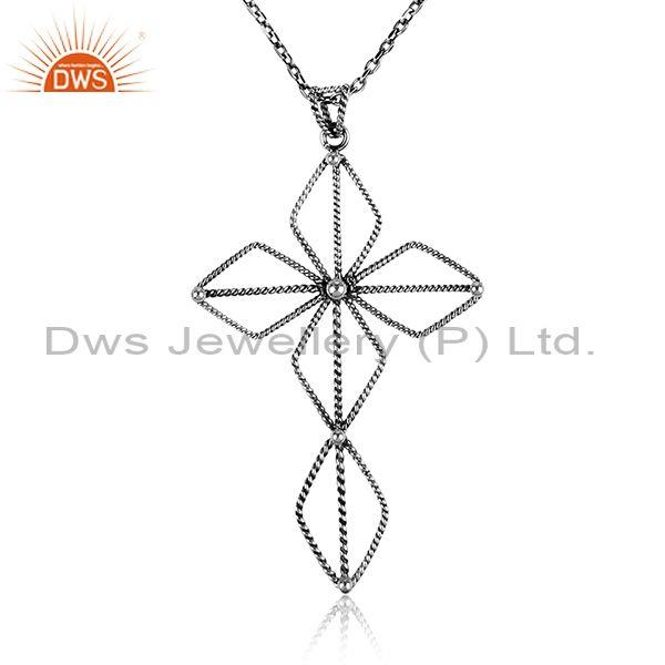 Handmade floral design gold on 925 silver pendant and chain