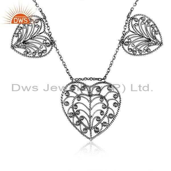 Gold on sterling silver leaf charms set statement necklace
