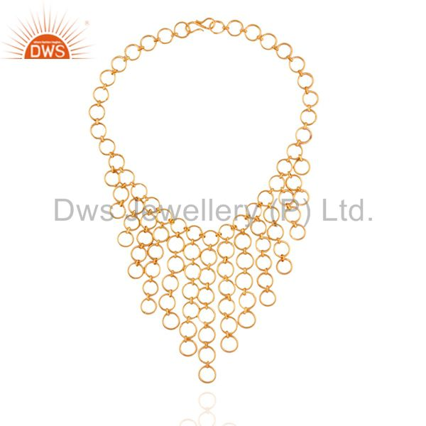 Exporter Handmade 925 Sterling Silver Gold Plated Link Chain Collar Chandelier Necklace