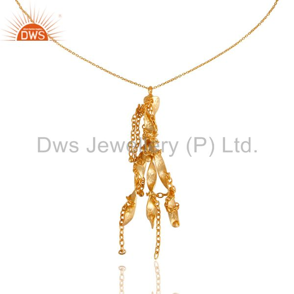 Exporter Unique Handmade 24k Yellow Gold Plated 925 Sterling Silver Designer Pendant