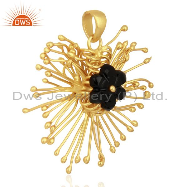 Supplier of Black Onyx Unique One Time Flower Gold Pendent Boutique Jewelry