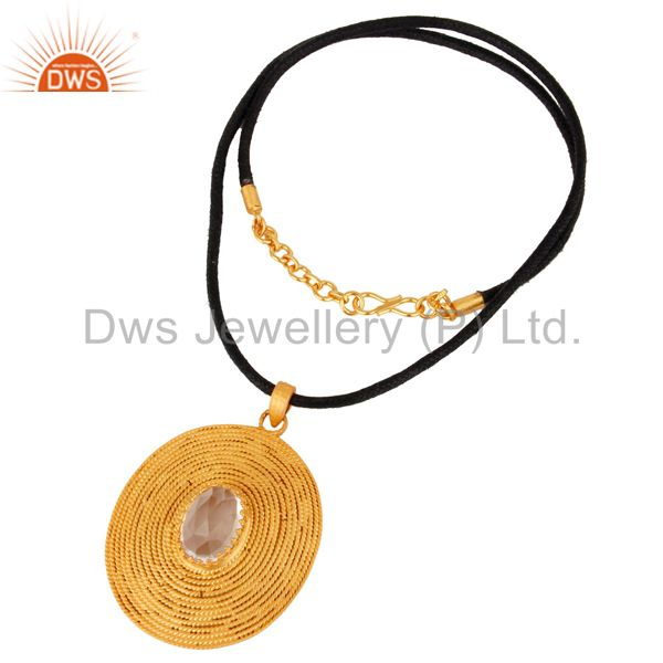 Exporter Crystal Quartz Sterling Silver Twisted Wire Pendant 18k Gold Plated Jewelry