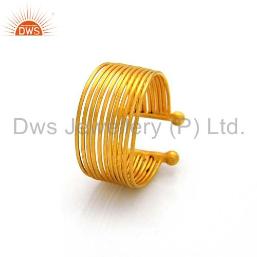 Exporter 22K Yellow Gold Plated Sterling Silver Wire Dome Open Ring