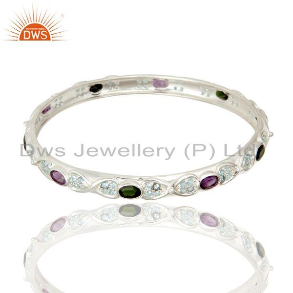 Supplier of Designer amethyst and chrome diopsite 925 silver bangle blue topaz