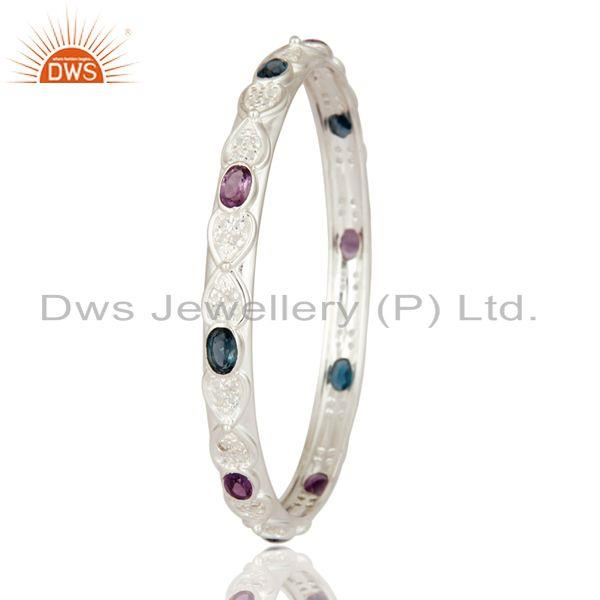 Supplier of Designer amethyst london topaz blue 925 silver bangle white topaz