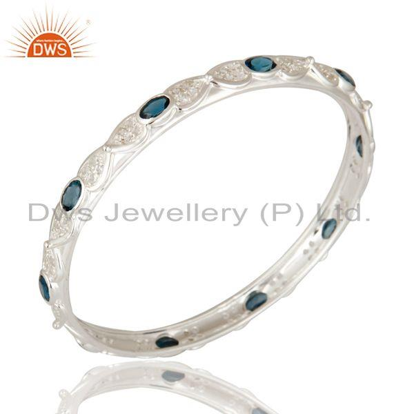 London blue topaz gemstone sterling silver bangle with white topaz Exporter