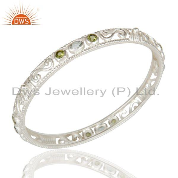 Supplier of 925 sterling silver peridot blue topaz designer bangle bracelet