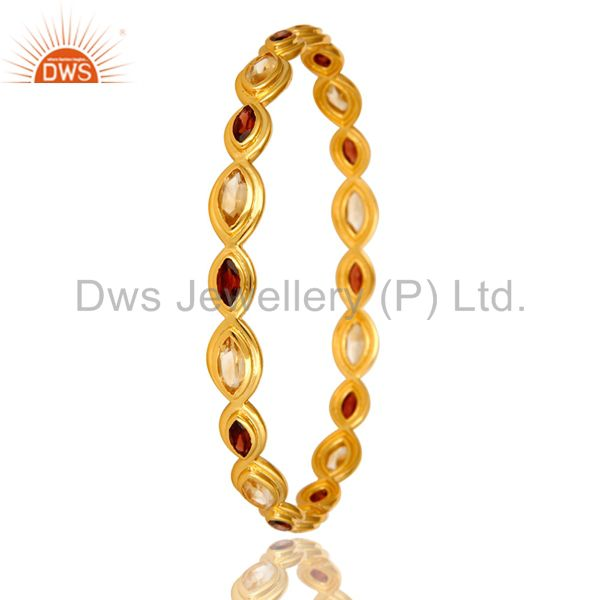 Supplier of 14k yellow gold over brass natural garnet citrine gemstone bangle