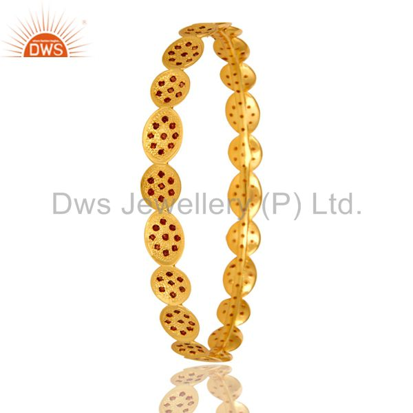 Supplier of 22k yellow gold plated garnet gemstone designer gemstone bangles