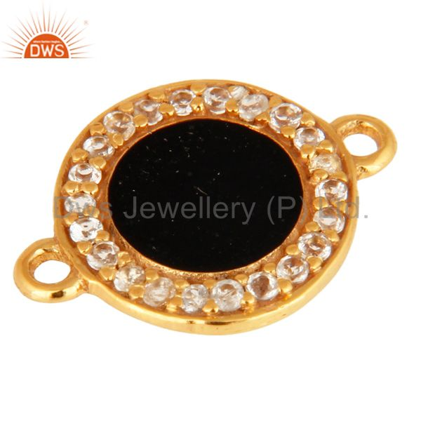 Exporter White Topaz Connector 14K Gold Plated Sterling Silver Black Enamel Findings