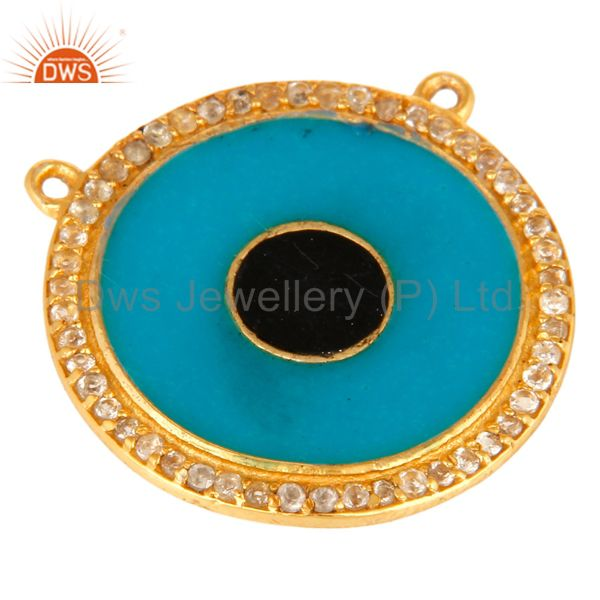 Exporter 18K Gold Plated Sterling Silver White Topaz Necklace Connector With Blue Enamel