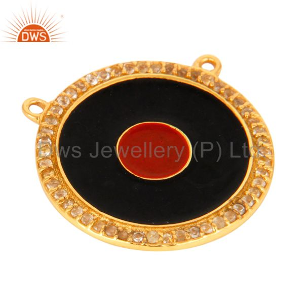 Exporter 18K Gold Plated Silver White Topaz Evil Eye Necklace Connector With Red Enamel