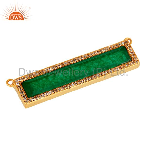 Exporter Green Aventurine White Topaz Connector Gold Plated 925 Silver Jewelry Findings