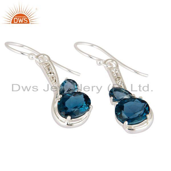 Exporter 5.71 Ct Natural London Blue Topaz Solid 925 Sterling Silver Gemstone Earrings