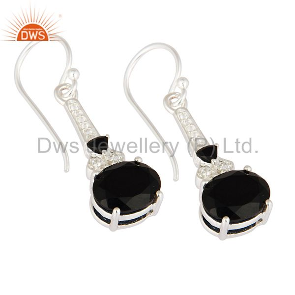 Exporter Designer Black Onyx & White Topaz Genuine 925 Sterling Silver Dangle Earrings