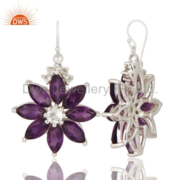 Exporter Natural Amethyst And White Topaz 925 Sterling Silver Flower Design Earrings
