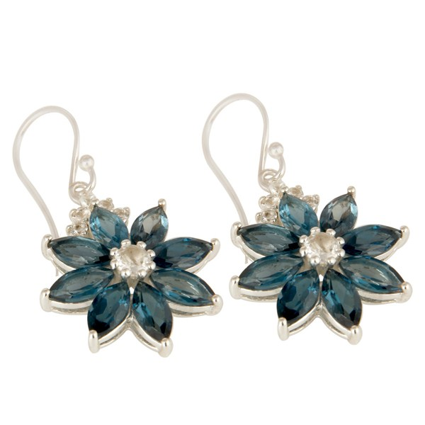 Exporter 925 Sterling Silver London Blue Topaz And White Topaz Flower Dangle Earrings