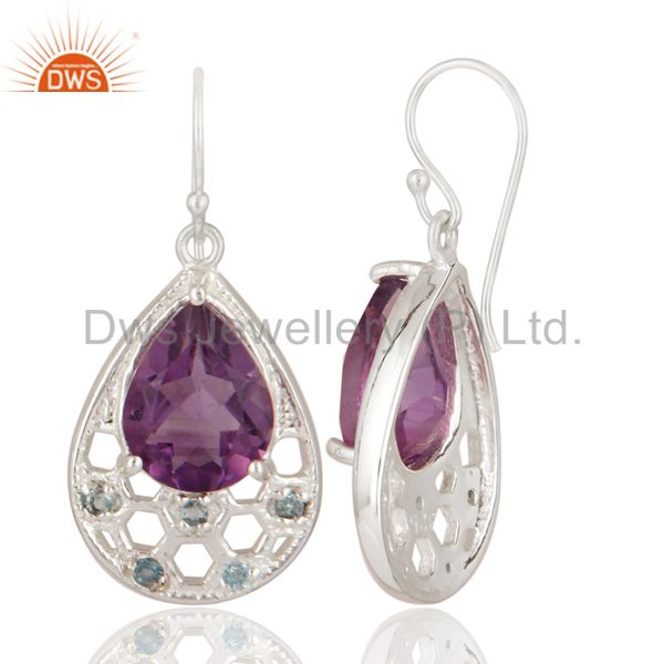 Exporter Natural Amethyst And Blue Topaz Sterling Silver Earrings - Gemstone Fine Jewelry