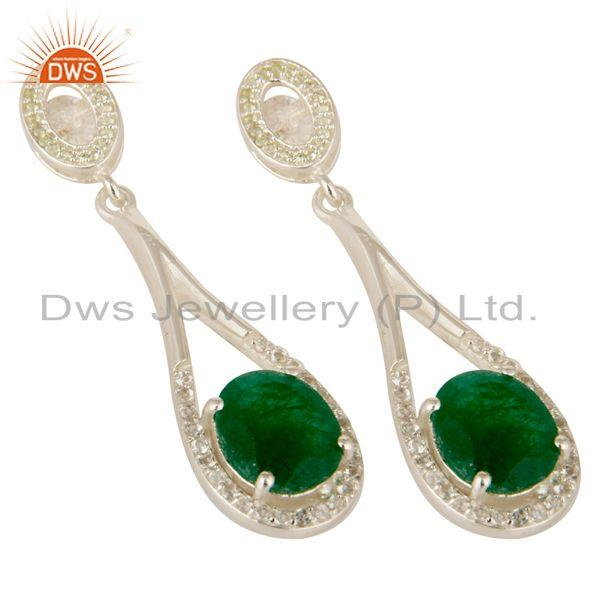 Exporter 925 Sterling Silver Green Aventurine And White Topaz Dangle Earrings For Womens
