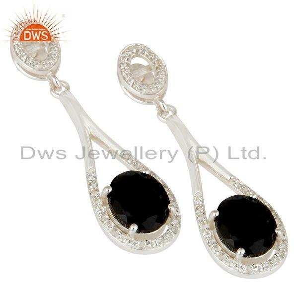 Exporter 925 Sterling Silver Black Onyx And White Topaz Dangle Earrings For Womens