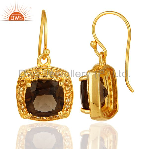 Exporter 14K Yellow Gold Plated Sterling Silver Smoky Quartz And Citrine Gemstone Earring