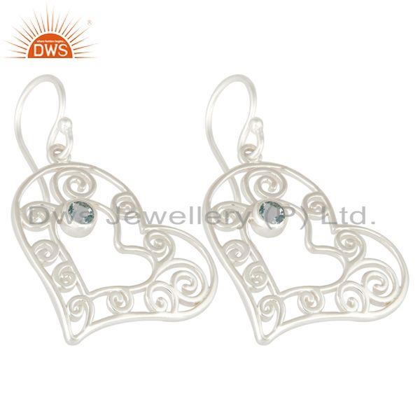 Exporter Genuine Blue Topaz 925 Sterling Silver Gemstone Heart Design Earrings For Women