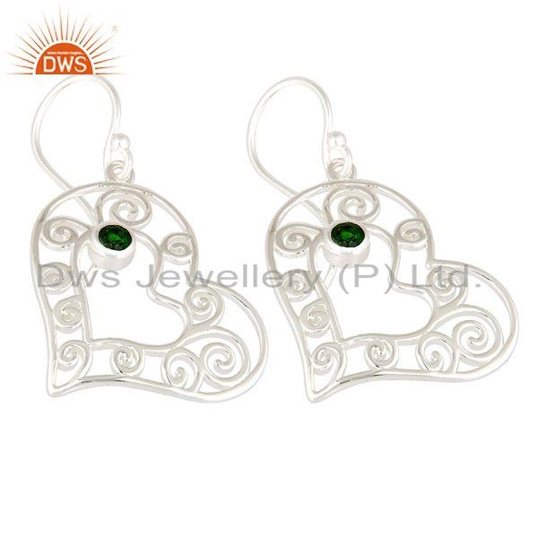 Exporter Natural Green Chrome Diopside 925 Sterling Silver Heart Design Dangle Earrings