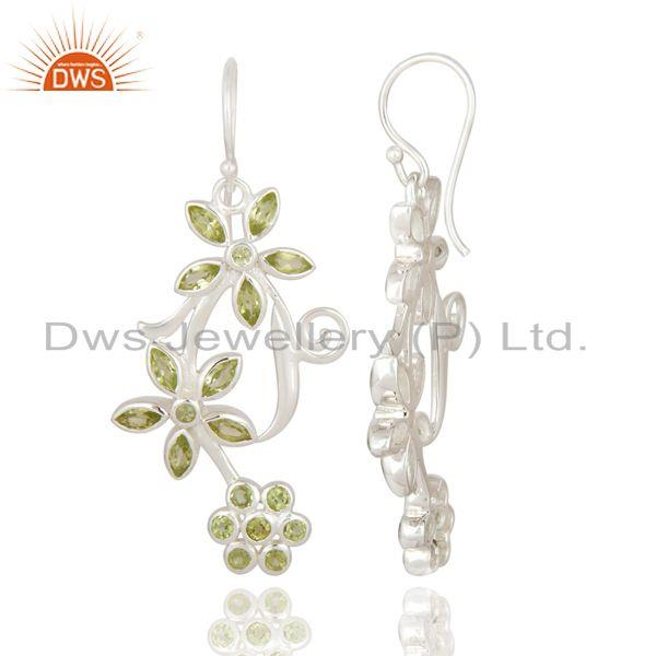 Exporter 925 Sterling Silver Natural Peridot Gemstone Flower Designer Dangle Earrings