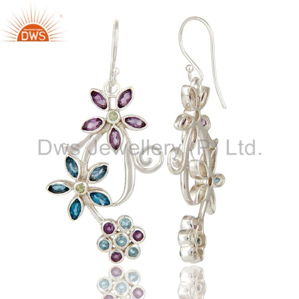 Exporter 925 Sterling Silver Amethyst, Blue Topaz And Peridot Flower Dangle Earrings
