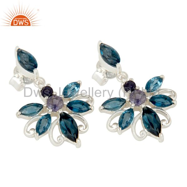 Exporter 925 Sterling Silver London Blue Topaz and Iolite Gemstone Dangle Stud Earrings